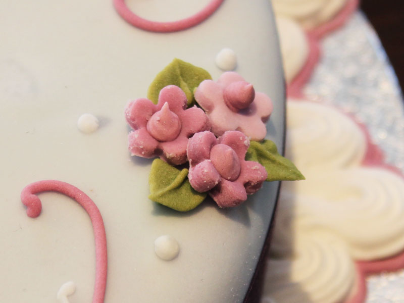 Sugar work flowers on bespoke celebration cake